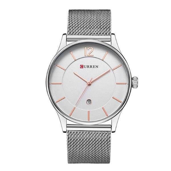 Relógio Masculino Curren Analógico 8231 - Prata, Branco e Dourado