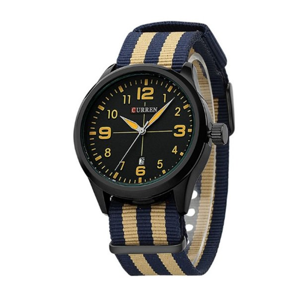 Relógio Masculino Curren Analógico 8195 - Bege e Azul