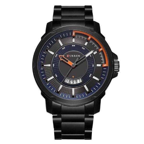Relógio Masculino Curren Analógico 8229 - Preto, Azul e Laranja