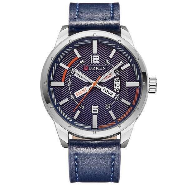 Relógio Masculino Curren Analógico 8211 - Azul e Prata