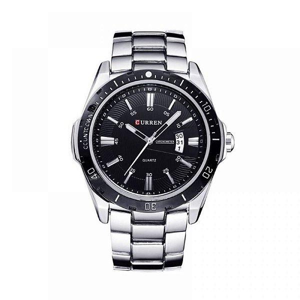 Relógio Masculino Curren Analógico 8110 - Prata e Preto