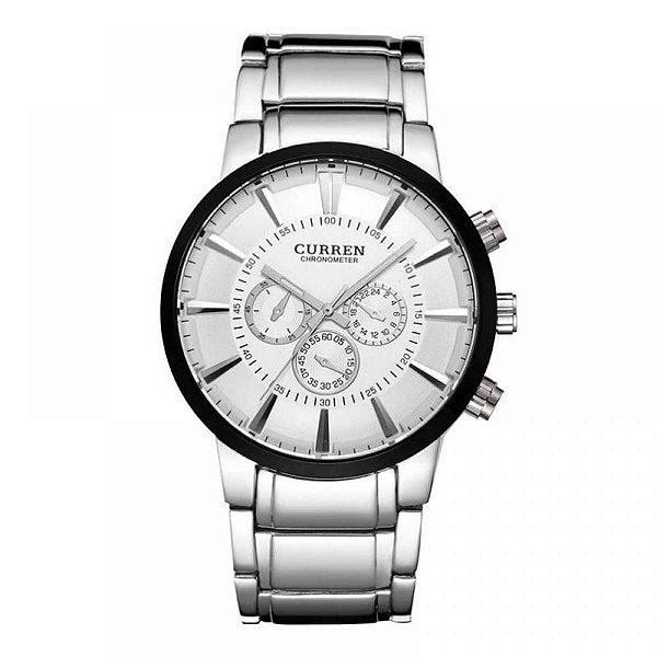 Relógio Masculino Curren Analógico 8001 - Prata, Preto e Branco