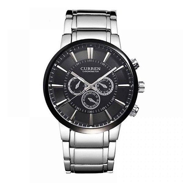 Relógio Masculino Curren Analógico 8001 - Prata e Preto