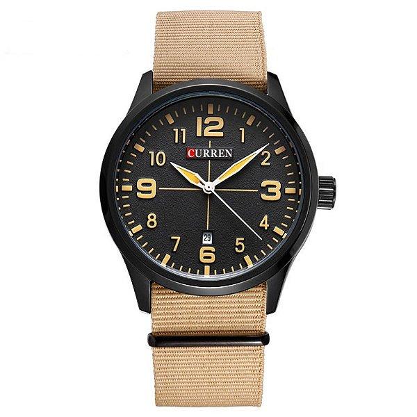 Relógio Masculino Curren Analógico 8195 - Bege e Preto