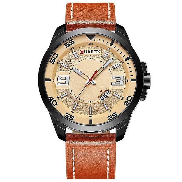 Relógio Masculino Curren Analógico 8213 - Marrom, Preto e Bege