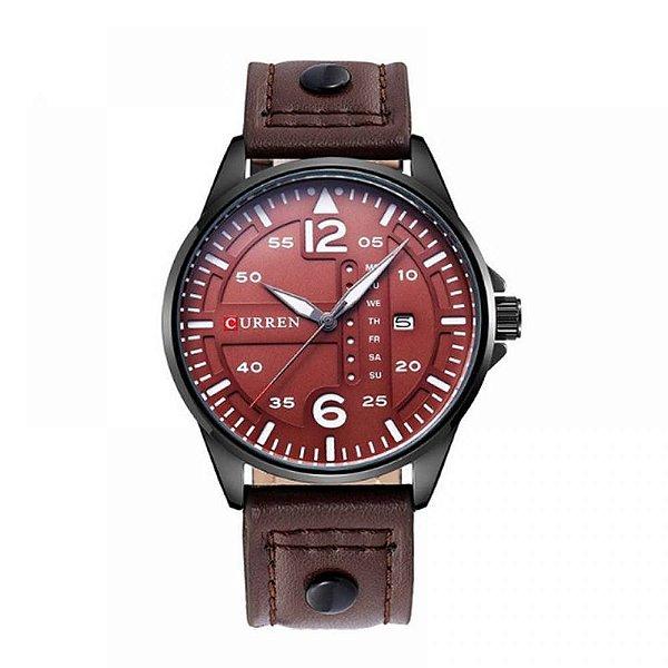 Relógio Masculino Curren Analógico 8224 - Preto e Vinho