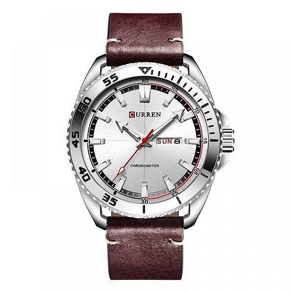 Relógio Masculino Curren Analógico 8272 - Prata e Vermelho