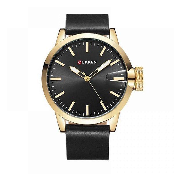 Relógio Masculino Curren Analógico 8208 - Preto e Dourado