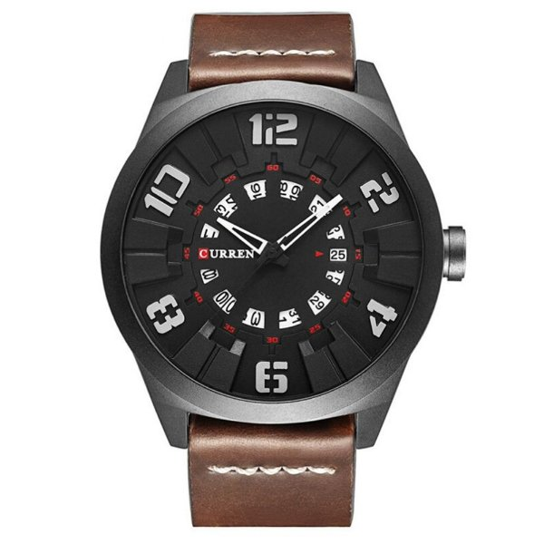 Relógio Masculino Curren Analógico 8258 - Marrom e Preto
