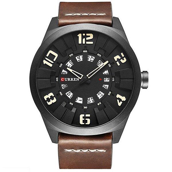 Relógio Masculino Curren Analógico 8258 - Marrom, Preto e Bege
