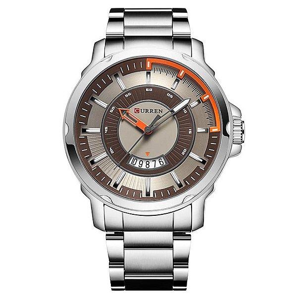 Relógio Masculino Curren Analógico - Prata, Marron e Laranja
