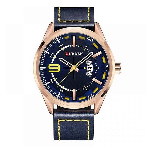 Relógio Masculino Curren Analógico 8295 - Azul e Rosê