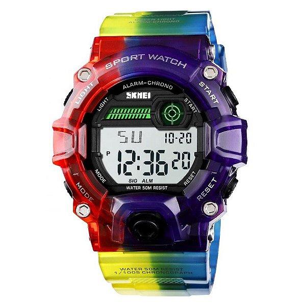 Relógio Masculino Skmei Digital 1197 - Roxo e Vermelho