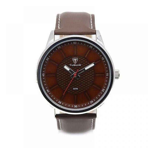 Relógio Masculino Tuguir Analógico 5051 - Marrom e Prata