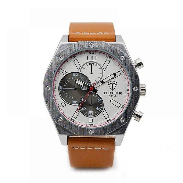 Relógio Masculino Tuguir Analógico 5042 Bege e Prata