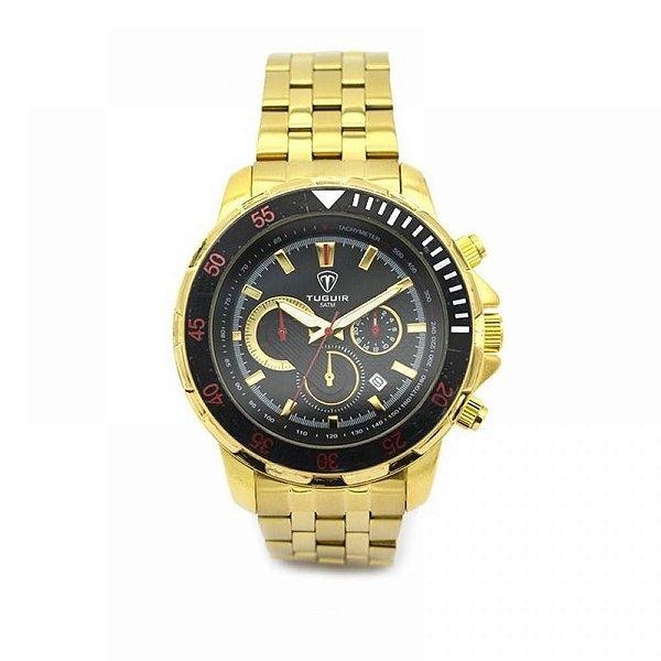 Relógio Masculino Tuguir Analógico 5008 - Dourado e Preto