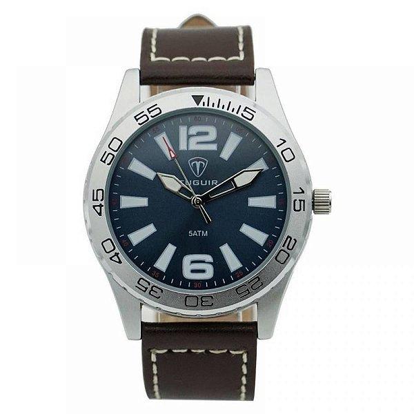 Relógio Masculino Tuguir Analógico 7018G - Marrom e Prata