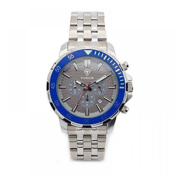 Relógio Masculino Tuguir Analógico 5008 - Prata e Azul