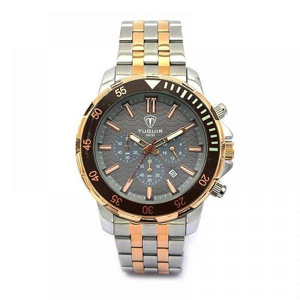 Relógio Masculino Tuguir Analógico 5008 - Prata, Rose e Preto