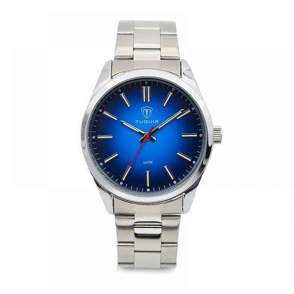 Relógio Masculino Tuguir Analógico 5013 - Prata e Azul