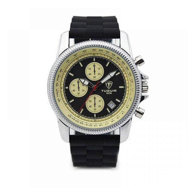 Relógio Masculino Tuguir Analógico 5027 - Preto e Prata