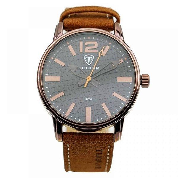 Relógio Masculino Tuguir Analógico 5445G - Marrom e Cobre