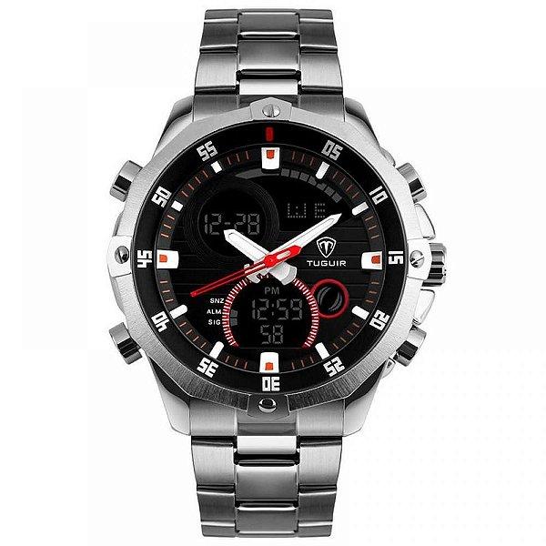 Relógio Masculino Tuguir Anadigi TG1146 Prata e Preto