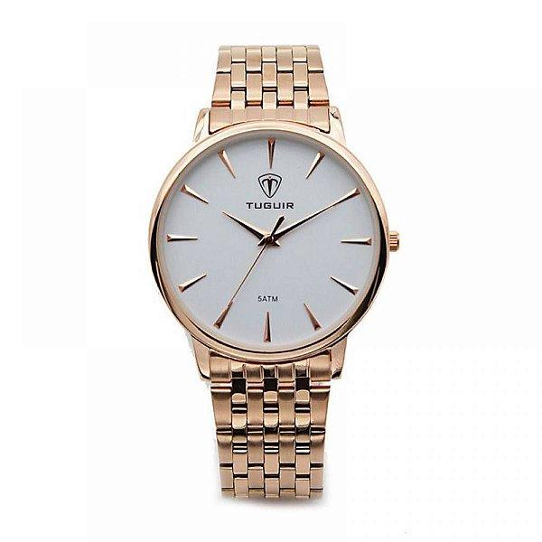 Relógio Feminino Tuguir Analógico 5041 - Rose e Branco