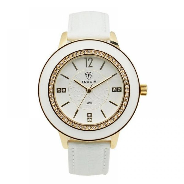 Relógio Feminino Tuguir Analógico 5079G - Branco e Dourado