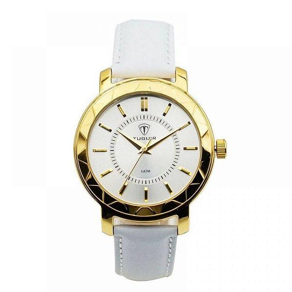 Relógio Feminino Tuguir Analógico 5439L Dourado e Branco