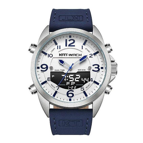 Relógio Masculino Kat-Wach AnaDigi KT1818 - Azul e Branco