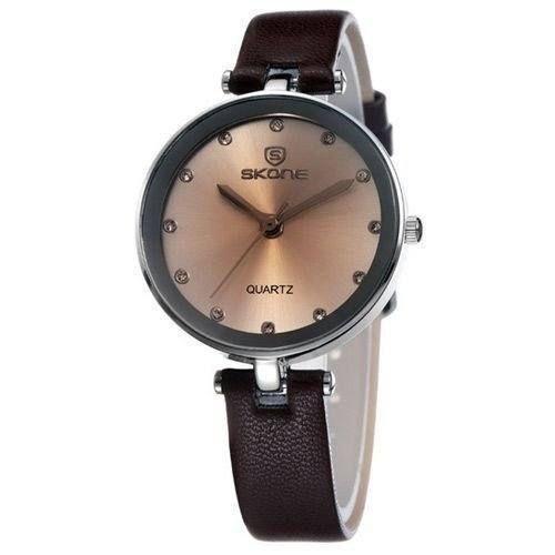 Relógio Feminino Skone Analógico Casual 9159 Marrom