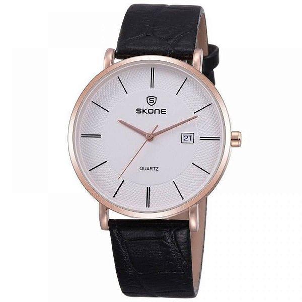 Relógio Feminino Skone Analógico Casual 9307BG Preto e Dourado