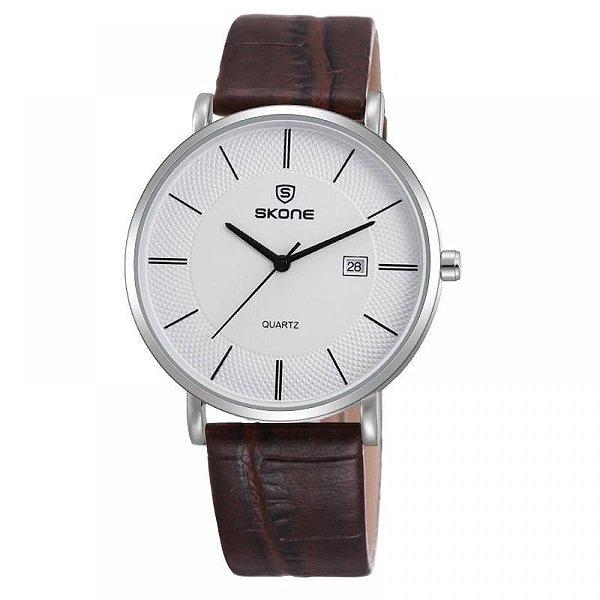 Relógio Masculino Skone Analógico 9307BG - Marrom e Branco