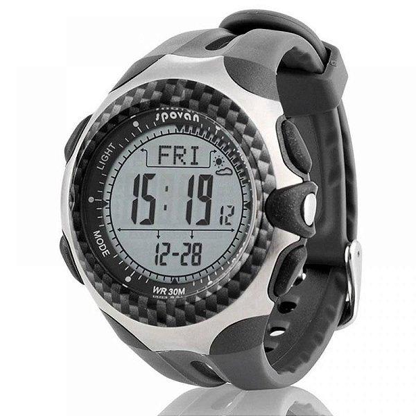 Relógio Smart Masculino Spovan Digital Mingo-L - Cinza e Prata