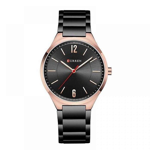 Relógio Unissex Curren Analógico 8280 - Preto e Rose