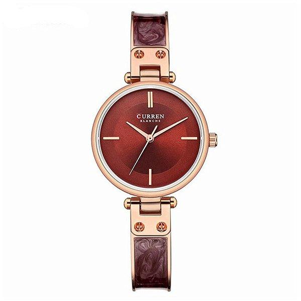 Relógio Feminino Curren Analógico C9058L - Rose e Vinho