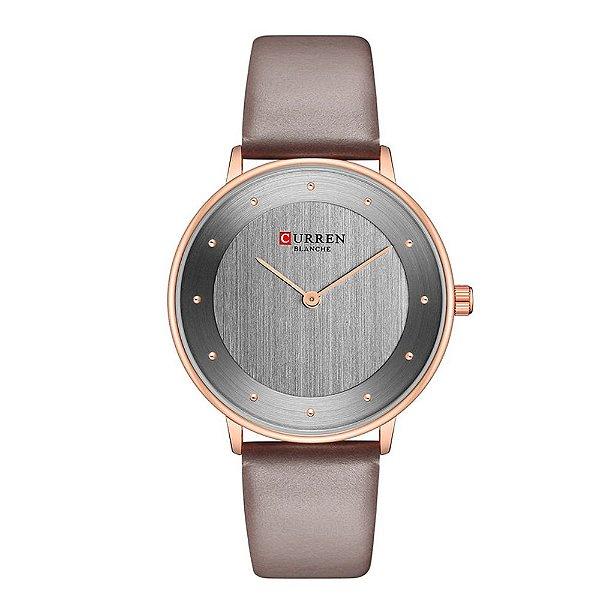 Relógio Feminino Curren Analógico C9033L - Rose e Cinza