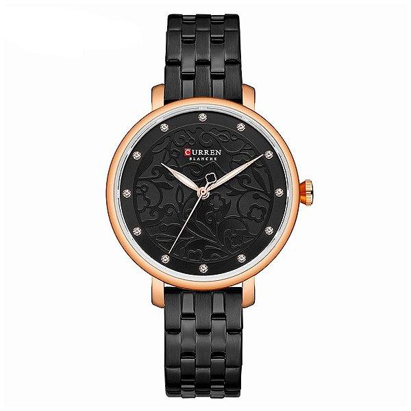 Relógio Feminino Curren Analógico C9046L - Preto e Rose