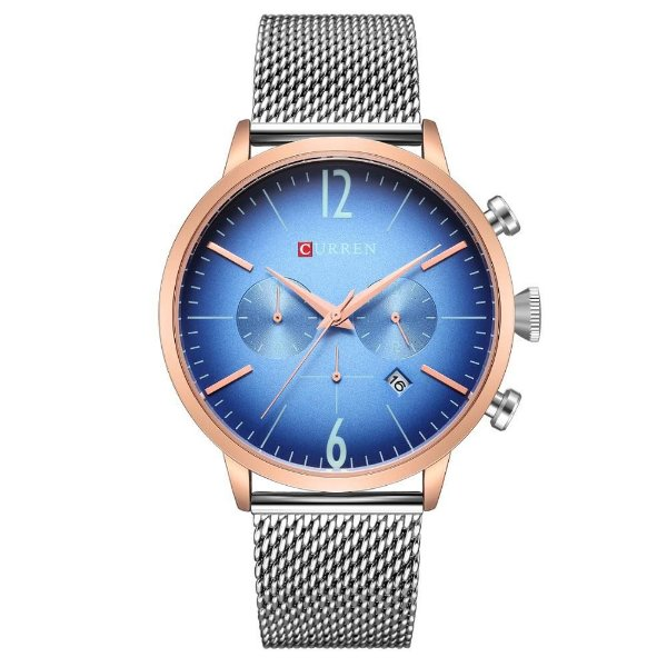 Relógio Masculino Curren Analógico 8313 - Prata e Azul