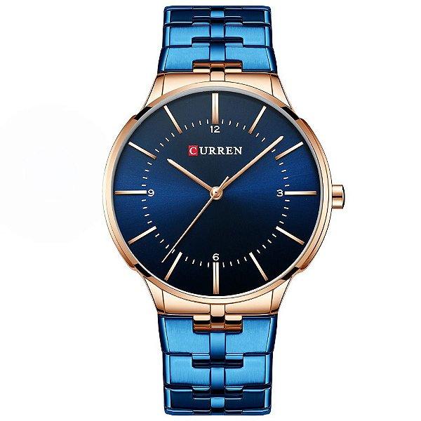 Relógio Masculino Curren Analógico 8321 - Azul e Rose