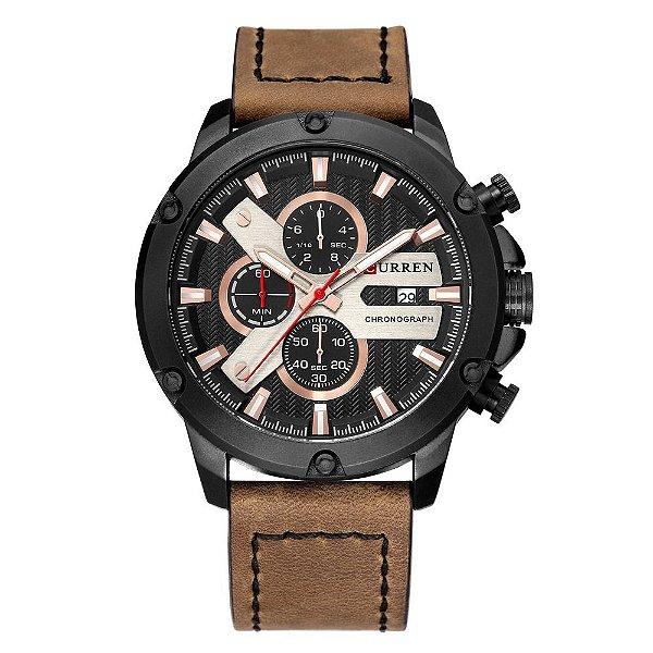 Relógio Masculino Curren Analógico 8308 - Preto e Marrom