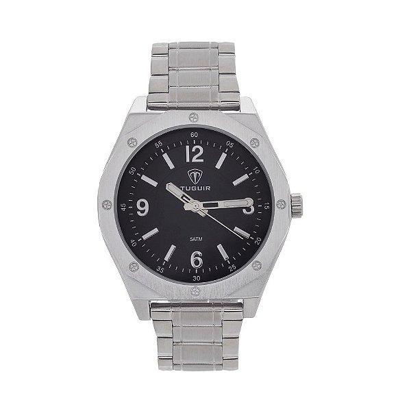 Relógio Masculino Tuguir Analógico 5033 Prata e Preto