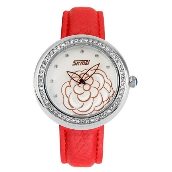 Relógio Feminino Skmei Analógico 9087 Vermelho e Prata