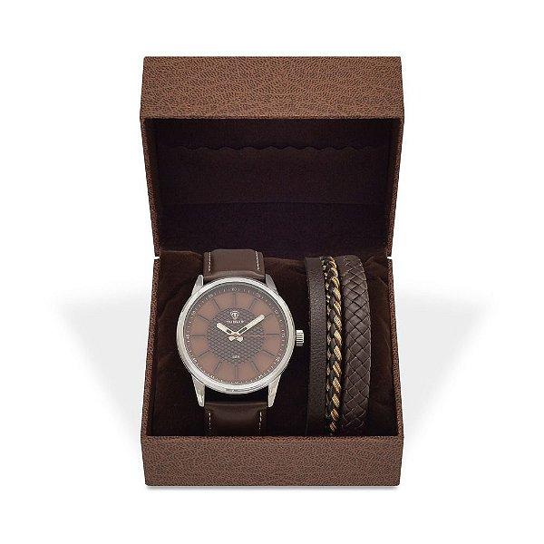 Kit Relógio Masculino Tuguir Analógico 5051 e Pulseira de Couro
