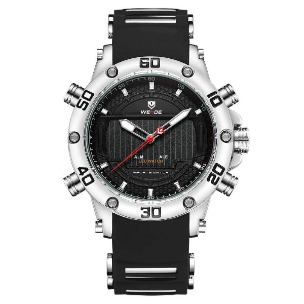 Relógio Masculino Weide AnaDigi WH-6910 - Preto e Prata