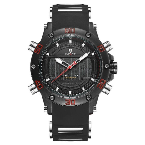 Relógio Masculino Weide AnaDigi WH-6910 - Preto e Vermelo