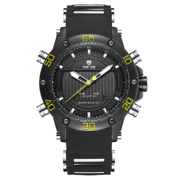 Relógio Masculino Weide AnaDigi WH-6910 - Preto e Amarelo