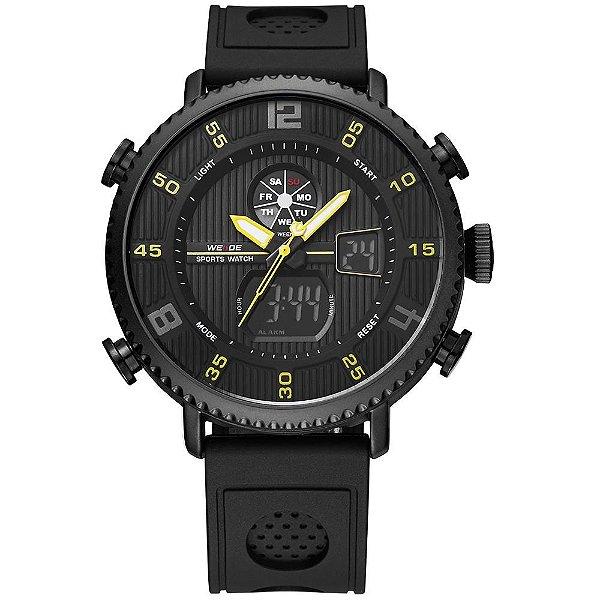 Relógio Masculino Weide AnaDigi WH-6106 - Preto e Amarelo