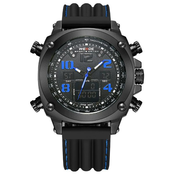 Relógio Masculino Weide AnaDigi WH-5208 - Preto e Azul